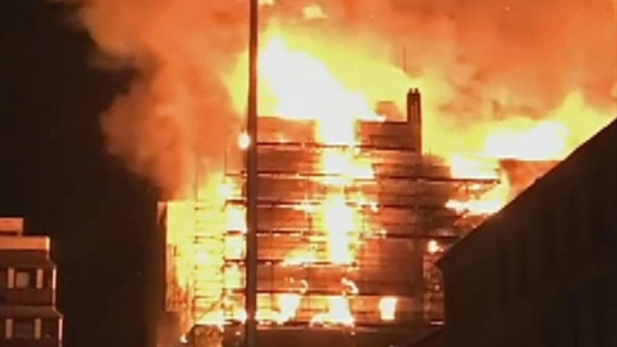 Raw video shows the art school's Mackintosh building being consumed by flames for the second time in four years.