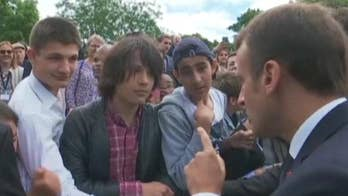 Raw video: French President Emmanuel Macron tells schoolboy to call him 'Mr. President of the Republic or Sir' at ceremony commemorating De Gaulle's call for resistance against the Nazis.
