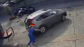Police in New Orleans are searching for a man who stole an SUV while wearing a hospital gown.