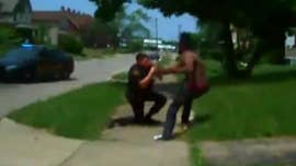 Police in Ohio have released bodycam footage of a shirtless suspect being shot, falling and getting straight back up again to charge cops.