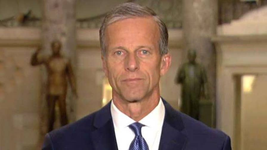 Senator John Thune accuses Democrats of using immigration issue as political opportunity instead of looking for a solution.