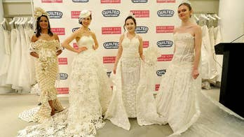 Contestants roll out their unconventional creations at the 14th Annual Toilet Paper Wedding Dress Contest.