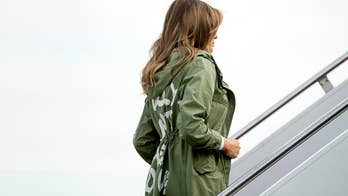 A spokeswoman for Melania Trump says there is no message in the first lady's choice of jacket.