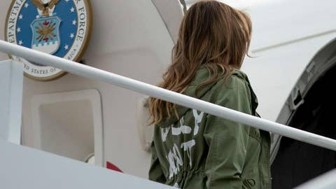Jacket first lady Melania wore to Texas sparks controversy