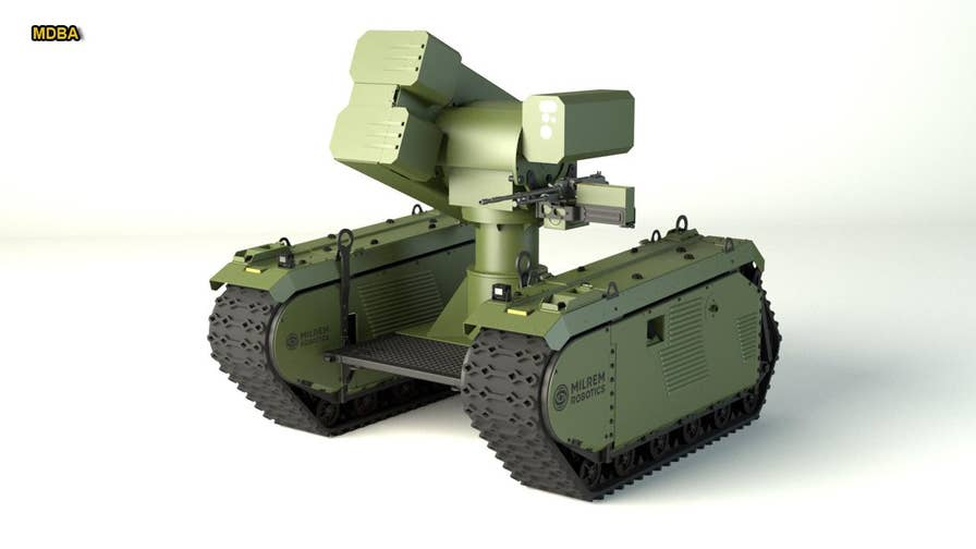 Allison Barrie has the first look at the new Milrem Robotics THeMIS, a smart robot that can stealthily approach an enemy tank, and destroy it. The ground drone will be adapted with a special turret from MBDA called IMPACT, and armed with powerful missiles, designed to obliterate enemy tanks.