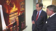 Leonard Leo speaks on picture of late justice Antonin Scalia's office.