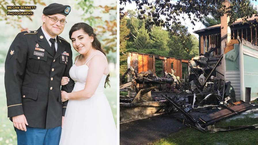 Matthew and Coral Denakis, a newlywed couple from Maryland, say their wedding 'turned out beautifully' despite their family's home catching fire on the morning of the nuptials.