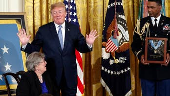 President Trump presents the Medal of Honor to Pauline Conner, widow of 1st Lt. Garlin Murl Conner.