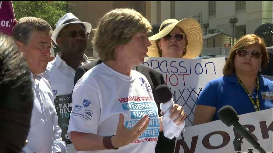 Randi Weingarten, president of the American Federation of Teachers, brings together a diverse group of educators, civil and human rights activists, and faith leaders to protest the trauma and damage caused by family separation policies and indefinite internment at the US District Court in El Paso, Texas.