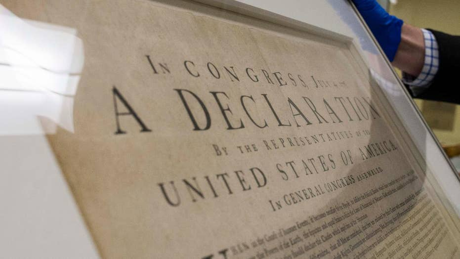 Rare Declaration of Independence print on display