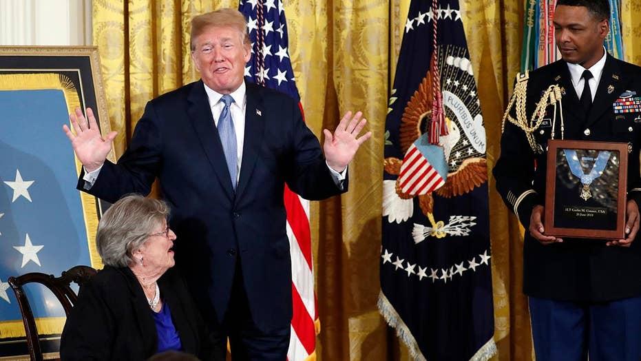 Trump presents Medal of Honor to WWII veteran's widow