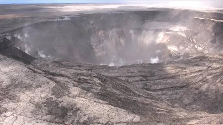 The volcanic crater usually filled with lava, has been drained.