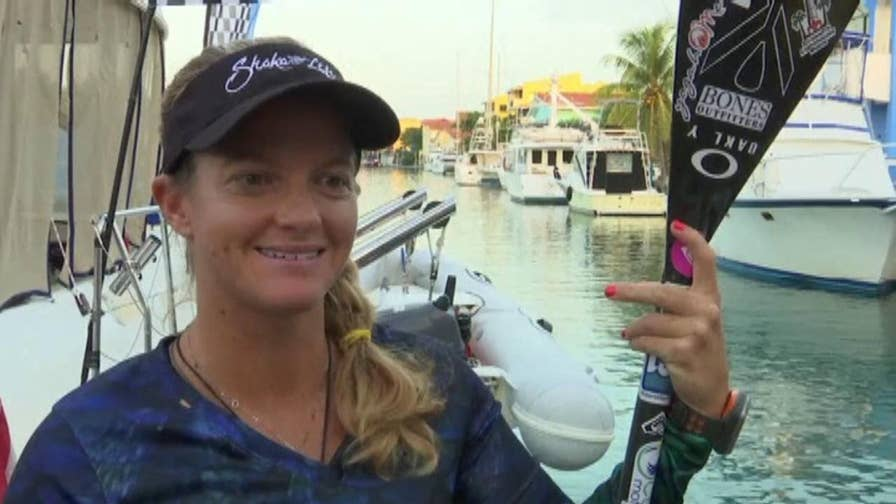Raw video: Victoria Burgess will attempt to break the Guinness World Record for the longest journey by stand-up paddle board, traveling between Havana, Cuba and Key West in Florida.