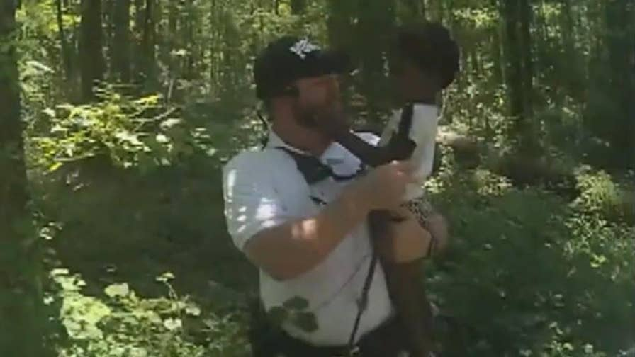 Raw video: Rescue crews find missing 2-year-old in Georgia woods.