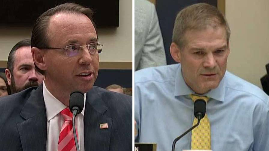 Republican accuses the deputy attorney general of 'hiding' documents related to the Russia investigation during a House hearing.