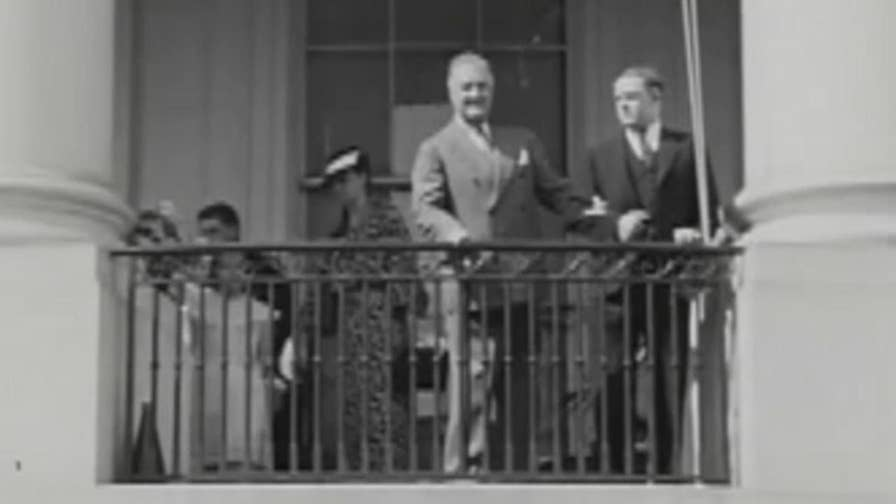 Raw video: Franklin D. Roosevelt, who was paraplegic after contracting polio and worried about appearing vulnerable to the American public, seen walking with cane and aide of bodyguard in rare video released by the FDR Presidential Library.
