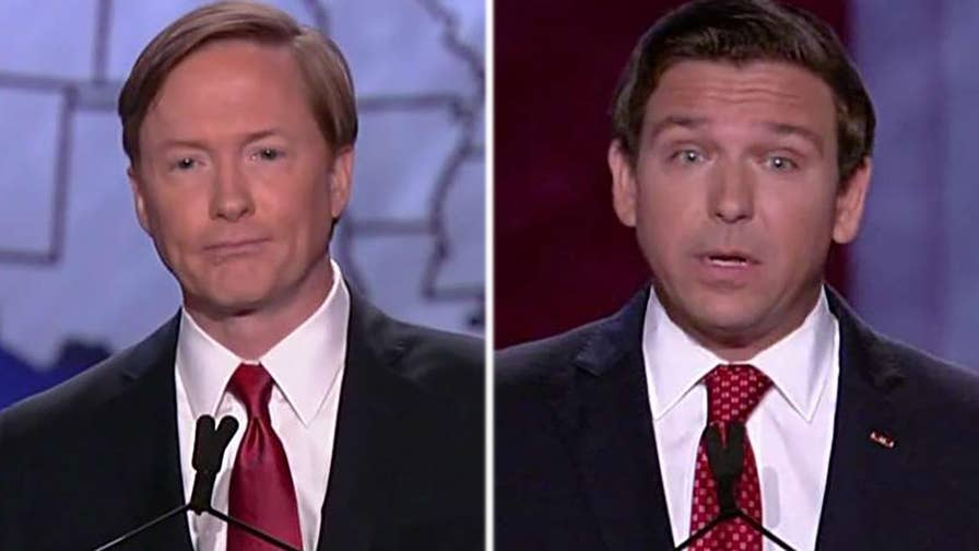 Republican Florida gubernatorial candidates debate which of them is the bigger supporter of the president's agenda.