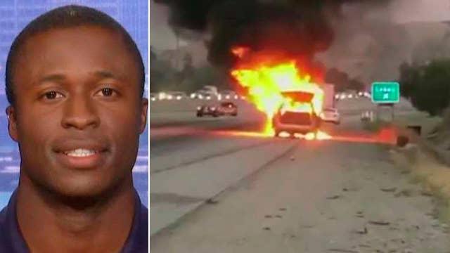 NASCAR driver helps family escape flaming minivan