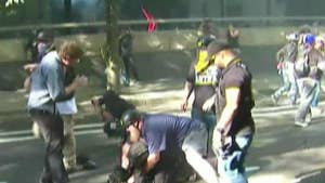 Antifa clashes with Patriot Prayer group at a 'freedom rally' in Portland, Oregon.