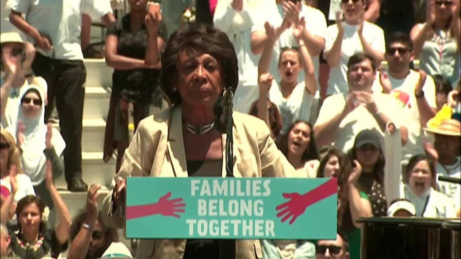 Maxine Waters speaks at 'Families Belong Together' rally in Los Angeles.