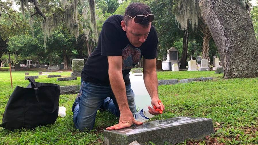 Every week, Andrew Lumish makes it his mission to find, clean and restore veteran's monuments long forgotten. He takes before and after photos of his work and posts them to his Facebook page and website, titled with his nickname 'The Good Cemeterian,' along with a short biography of the person behind the name as a tribute to their life.