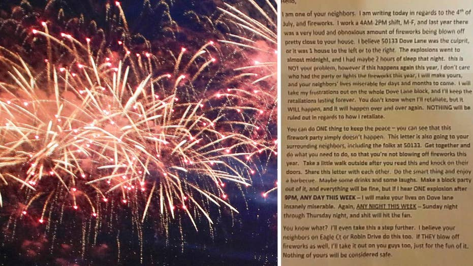 Anonymous person threatens neighborhood over fireworks