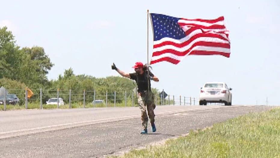 Military veteran goes on patriotic run with American flag