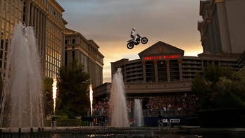 Motorcycle daredevil Travis Pastrana pulled off an incredible triple feat in Las Vegas by successfully recreating three of late stuntman Evel Knievel's most famous jumps on live TV.