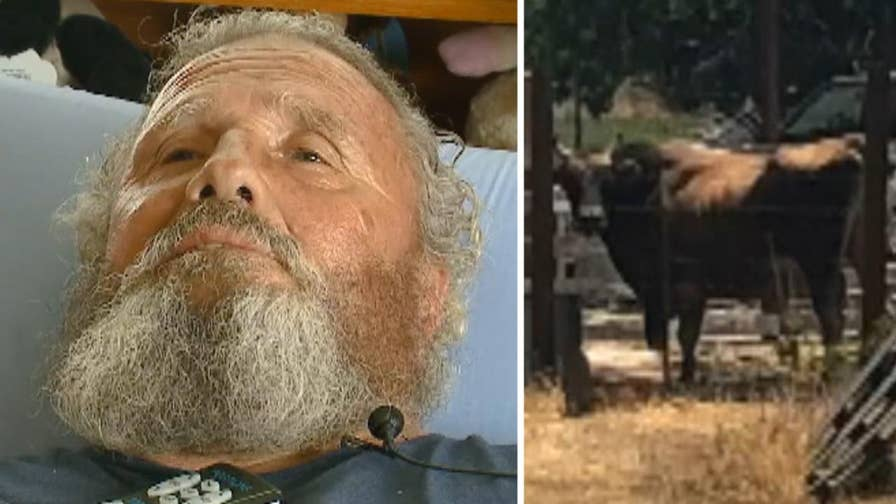 69-year-old California man says he's still alive after getting gored twice by bull because of good karma from saving woman from burning house in the 1970s.
