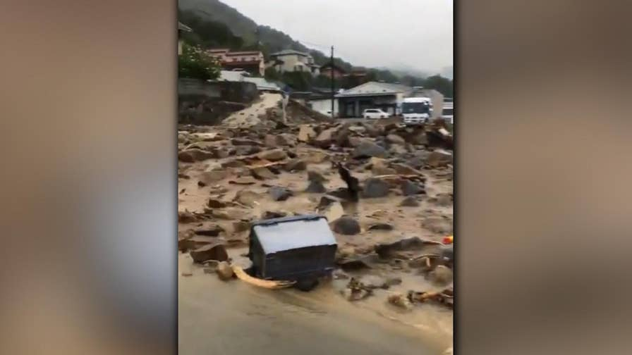 Raw video: Death toll rises after record rainfall causes flooding, landslides near Hiroshima.