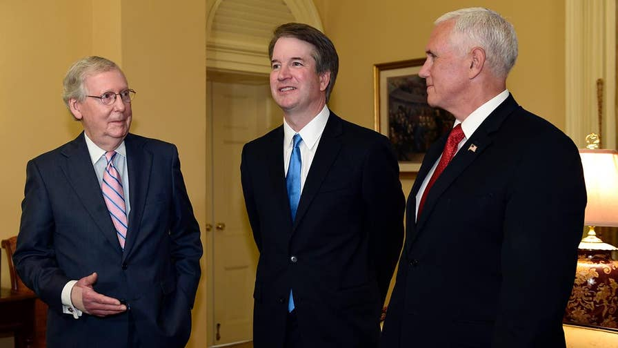 Vice president praises the credentials and character of President Trump's nominee to replace retiring Supreme Court Justice Anthony Kennedy.