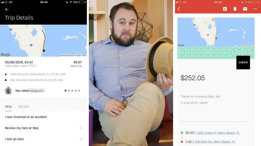Tourist in Florida charged $250 for ride when driver dropped him off, then drove 115 miles before ending the fare hours later.