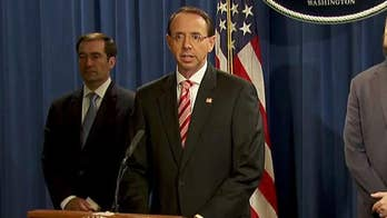 Deputy Attorney General Rosenstein announces indictment of 12 Russians for hacking the DNC during the 2016 election.