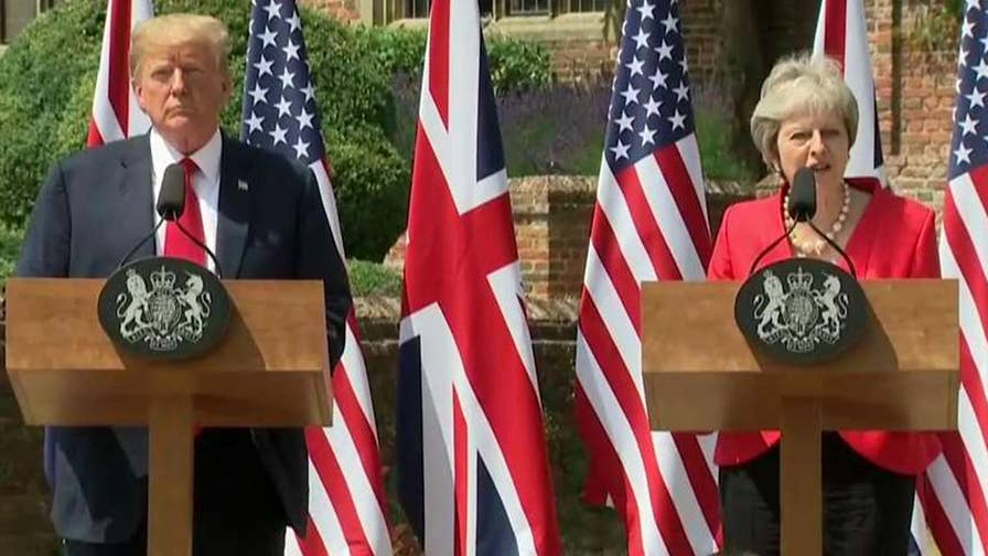 Addressing reporters in the U.K., the president says he believes a trade deal will be possible after discussing Brexit with the prime minster.