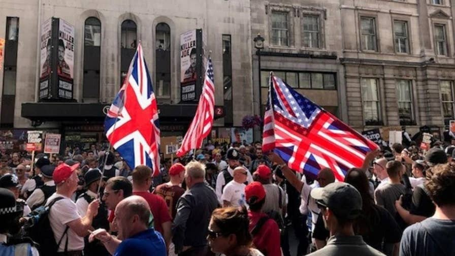 Pro-Trump protesters met with verbal abuse and some violence following a visit from President Trump to the UK.