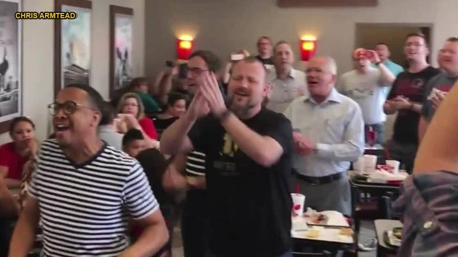 A group of a capella singers at a Chick-fil-A in Nashville surprised onlookers by breaking out in song, and footage of the uplifting moment is now going viral.