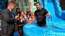 'Fox and Friends' has some fun with a water slide on the plaza.