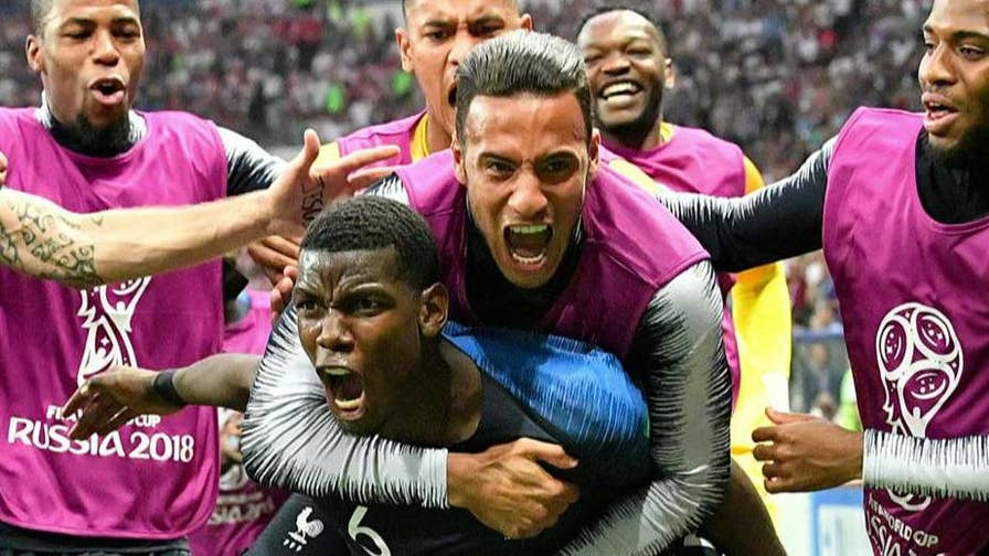 France celebrates a victory in the 2018 World Cup, beating Croatia.