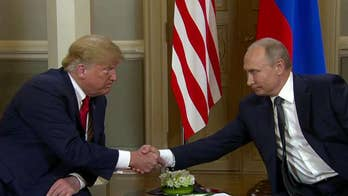 President Trump and his Russian counterpart Vladimir Putin deliver opening remarks in Helsinki before their closed-door meeting.