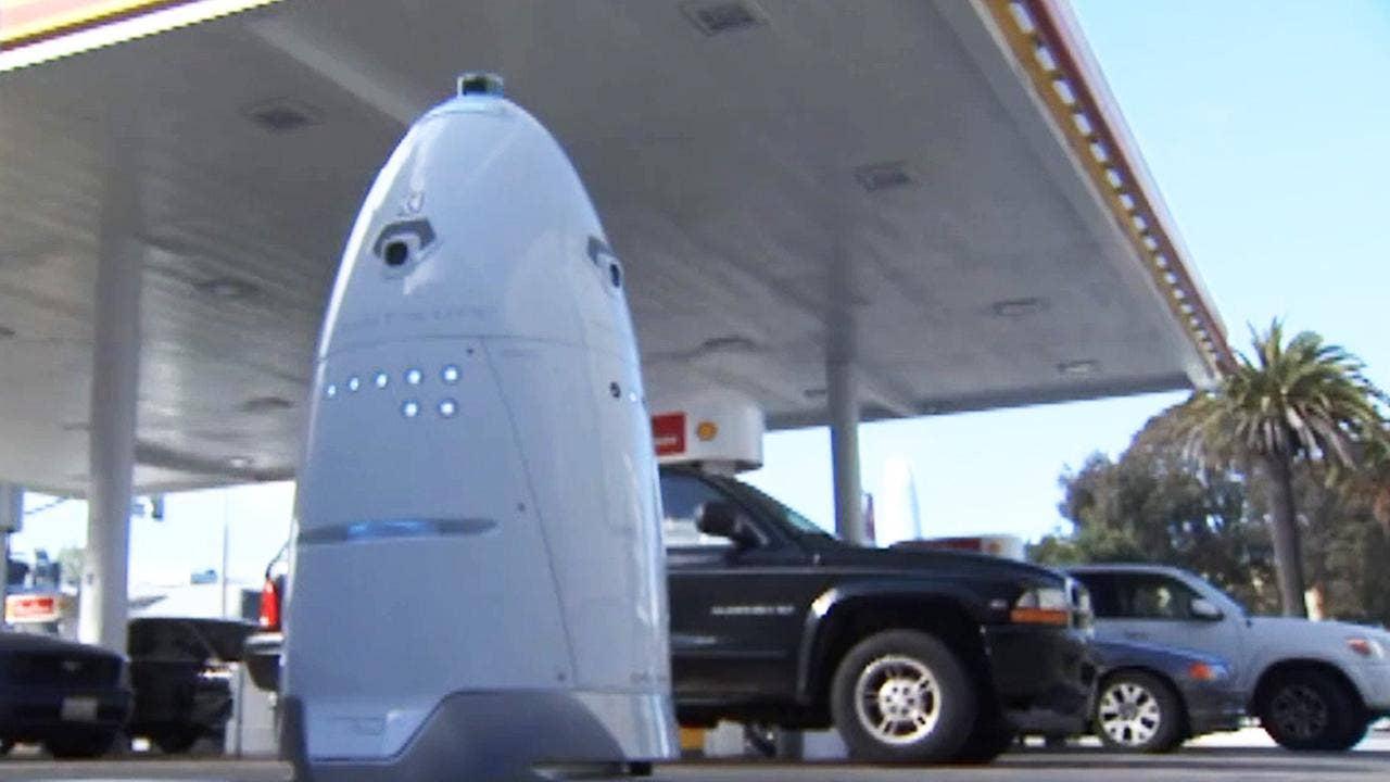 Robot Security Guard Patrols San Francisco Gas Station