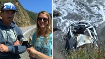 Raw video: California couple who were searching for places to fish discover car at bottom of cliff and woman who survived the plunge and was missing for a week about a mile away.