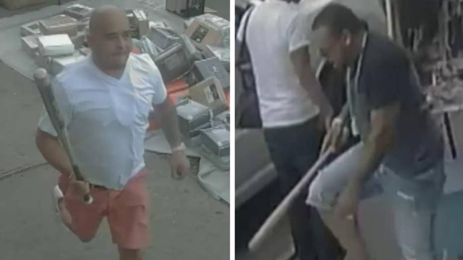 NYPD seeks two men after vicious bat assault caught on tape