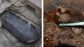 Archaeologists in Egypt have opened up a mysterious ancient 'cursed' black granite sarcophagus.