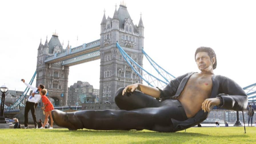 Top Talkers: A 25-foot statue of a bare-chested Goldblum commemorate the 25th anniversary of 'Jurassic Park.'