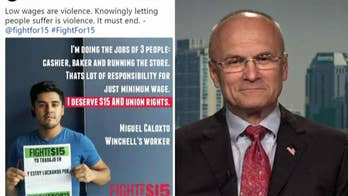 Progressive group MoveOn compares low wages to violence; former CKE Restaurants CEO Andy Puzder reacts on 'Your World.'