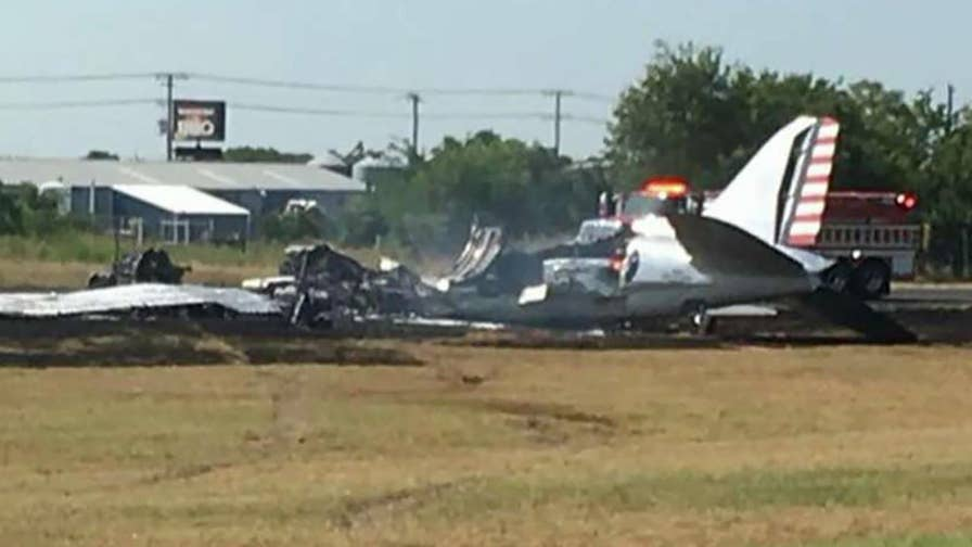 Video shows smoke rising after vintage plane crashes in Burnet County, Texas.