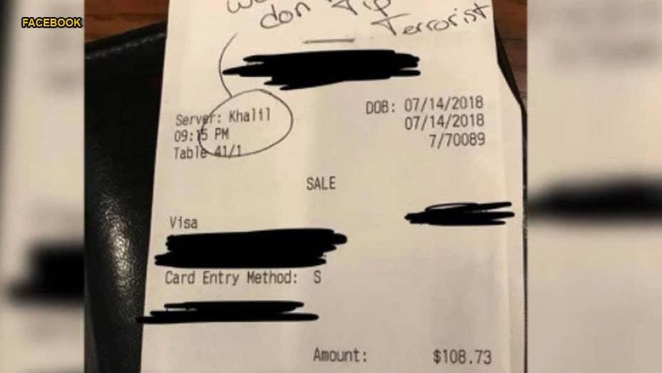 Texas waiter latest to fake 'racist' receipt to get sympathy