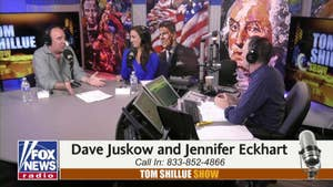 LeBron James accused the President of using sports to divide he country. Comedian Dave Juskow, Fox Business Producer Jennifer Eckhart and Tom Shillue debate James' comments and  how to get the politics of sports.