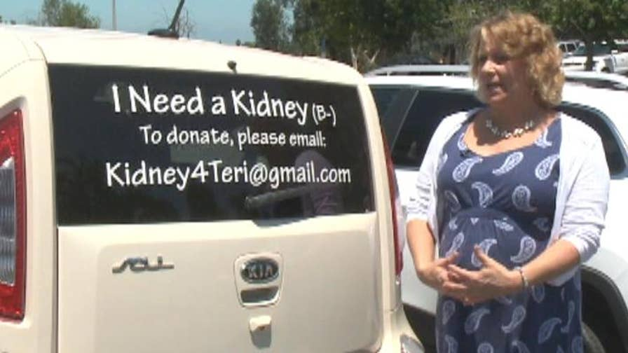 California woman with a rare genetic blood disorder finds a kidney donor by posting a sign on the back of her car.