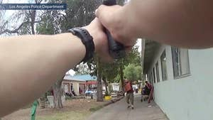 LAPD decided to release the video of a knife-wielding suspect and hostage to increase transparency and trust. William La Jeunesse has the story.